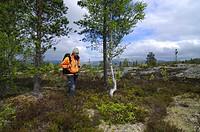 Hiker, fjell, Jotunheimen national park, Norway
