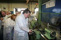 Prime minister of Rhineland_Palatinate Kurt Beck visiting the wrapping maker Huhtamaki in Alf, Rhineland_Palatinate, Germany
