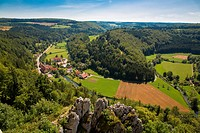 View of the Lautertal from the ruins of Hohengundelfingen, Swabian Alb, Baden-Wuerttemberg, Germany