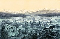 Ice age. Historical artwork of the last ice age, some 20,000 years ago, by the Swiss geologist and naturalist Oswald Heer 1809–1883.