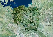 Poland, satellite image. North is at top. Water is blue, vegetation is green, cloud and snow and ice are white, and developed areas are grey. The coun...