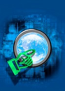 Global internet, conceptual computer artwork. Hand icon green pointing at a globe symbol. The globe represents the worldwide reach of computer network...