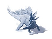 Stegosaurus dinosaur, artwork. Stegosaurs ´roofed reptiles´ were herbivores that lived throughout the world during the Jurassic period, around 150 mil...