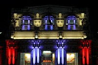 The new lighting of the Milano Centrale railway station by the french lighting designer Alain Guilhot, Milan, Lombardy, Italy (December 2009)