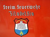 Bilingual emblem of the voluntary fire brigade, Mennonite colony, Filadelfia, Fernheim, Gran Chaco, Paraguay