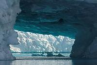 iceberg and icecave at Sermilik Fjord, Greenland, Ammassalik, East Greenland, Tiniteqilaq