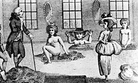 Mud baths. Women taking mud baths in the 18th century, watched by James Graham died 1794, a Scottish medical fraudster. Bathing in mineral water and m...