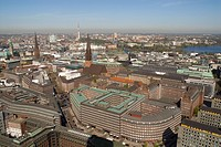 Arial view over the city centre of Hamburg. Sprinkenhof and Chilehaus buildings lying in the foreground, Hamburg, Germany