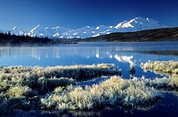 Mount Mc Kinley with reflection in Wonder Lake, USA, Alaska, Denali Nationalpark