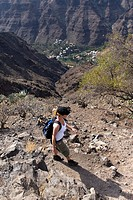 trek in Barranco Argaga,La Gomera,Canary Islands, Spanish archipelago of Atlantic Ocean
