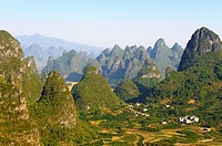 Karst peaks around Yangshuo, Guilin, Guangxi, China