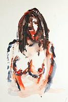 Female nude, watercolor, artist Gerd Kraus, Kriftel, Germany, Europe