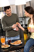 couple in kitchen, breakfast