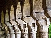Capiteles con decoración rústica de motivos geométricos y vegetales en el claustro de la iglesia catedral de Roda de Isábena, de estilo románico, sigl...