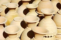 Unfinsihed ceramic vases ready for firing, Bahla, Sultanate of Oman