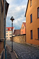 Cobblestone-paved street, Jena, Thuringia, Germany