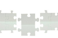 A row of puzzle pieces with a joining piece