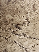 Aerial view of trenches on the Somme battlefield during the First World War  From L´Illustration, 1916