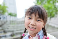 Japan, Tokyo Prefecture, Girl smiling, close_up, portrait
