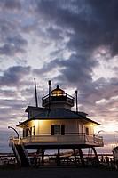 USA, Maryland, Eastern Shore of Chesapeake Bay, St  Michaels, Chesapeake Bay Maritime Museum, Hooper Straight screw-pile Lighthouse, dawn
