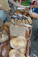 People buying bread at Riverdale Farmer´s Market, Toronto, Ontario