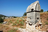 Roman Sarcophagus near Arch of Modestus in Patara, an ancient Lycian city in the South West of modern Turkey