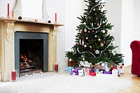 Fireplace and Christmas Tree with presents