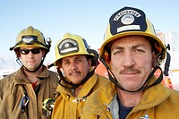 Three fire fighters portrait