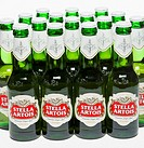 Rows of Stella Artois beer bottles