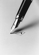 Tip of fountain pen marking checkbox b&w close_up