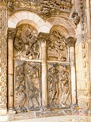 Relief sculptures at the entance to the Abbaye Saint Pierre de Moissac in Moissac, Tarn et Garonne, France, Europe