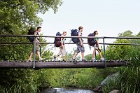 Four teenagers 16_17 years backpacking in forest crossing wooden bridge side view