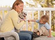 Mother and son petting dog