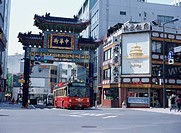 Tour bus going through Chinatown. Yokohama, Kanagawa Prefecture, Japan