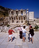 Library of Celsus at the ancient archaeological site of Ephesus, a popular historic tourist attraction near Kusadasi