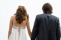 Rear view of a newlywed couple