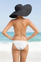 Rear view of a woman standing on the beach with her arms akimbo (thumbnail)