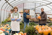 Farmers in greenhouse with pumpkins