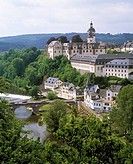 D-Weilburg, Lahn, Lahn valley, Westerwald, Taunus, nature reserve Hoch-Taunus, Hesse, panoramic view with Lahn river and castle, baroque, renaissance