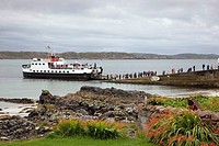 Ship in the harbor, Island of Iona, Scotland