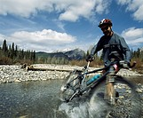 Mountain biking in the Rocky Mountains, Kananaskis, Alberta, Canada