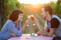 Couple toasting with glasses of wine in field