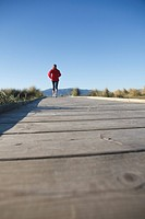 Rear view of athletic woman running on boardwalk