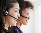 Businesswomen working in call center