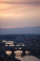 Sunset, Ponte Vecchio over the River Arno, Florence, Tuscany, Italy, Europe