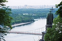 Statue of Volodymyr the Great above Dnieper River, Kiev, Ukraine, Europe