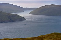 Vestmannasund between Vagar on the left and Streymoy islands, from Streymoy, Faroe Islands Faroes, Denmark, Europe