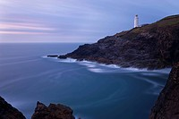 Trevose Lighthouse at dusk, Trevose Head, near Padstow, North Cornwall, England, United Kingdom, Europe