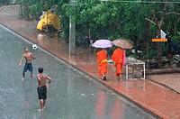 Monsoon rain in Luang Prabang, Luang Prabang, Laos, Indochina, Southeast Asia, Asia