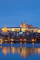 prague in winter - hradcany castle and mala strana at dusk